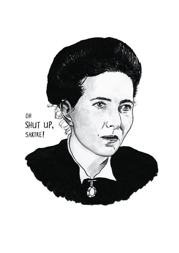 Simone de Beauvoir Literary Poster Print Great Writer Feminist