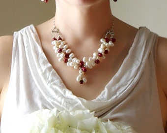 Victorian Inspired White and Red Freshwater Pearl Necklace, Art Nouveau Winter Wedding Necklace, Christmas Wedding Jewelry, Bridal Necklace