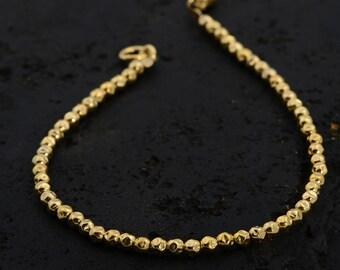 Tiny Gold Bead Bracelet - gold nugget beads, delicate bracelet, beaded bracelet, beaded bangle, fine bracelet,unique,handmade