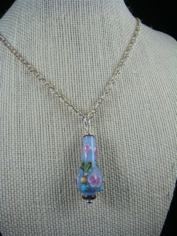 """Light Blue Lamp Work Vase Pendant on 26"""" Silver Chain"""