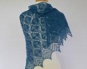 "Shawl by Lace Knit. Hand Knitted Lace Shawl ""Estonian Butterflies"". Triangular Wrap, Navy Blue-Green, Dark Teal Shawl."