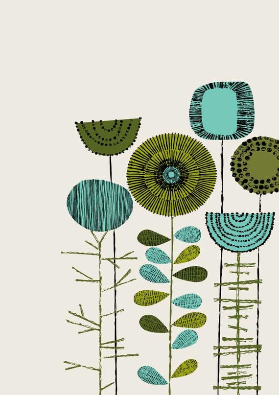Embroidery Flowers Placement Lime, limited edition giclee print