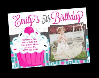 Cupcake Birthday Invitation with Photo