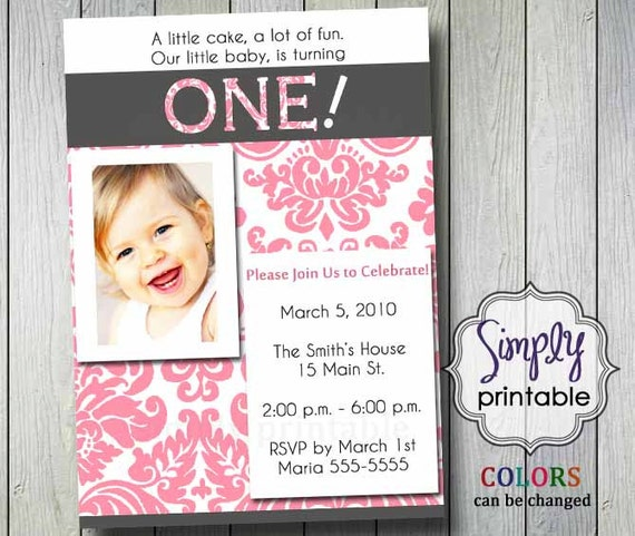 1st Birthday Invitation with Photo (Printable )Digital File