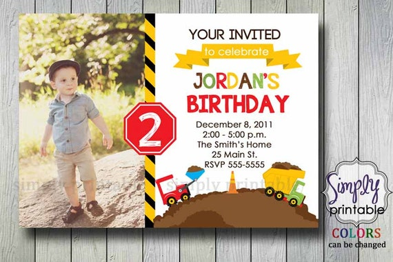 Construction Invitation Birthday with Photo