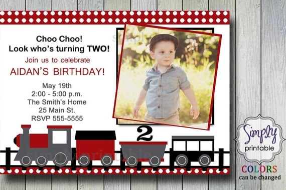 Red Train Invitation for Birthday