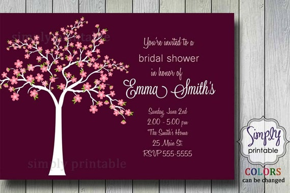 Bridal Shower Invitation - Cherry Blossom Tree