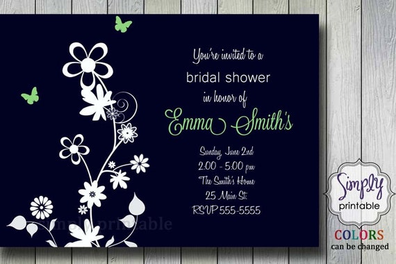 Navy/Lime Green Bridal Shower Invitation