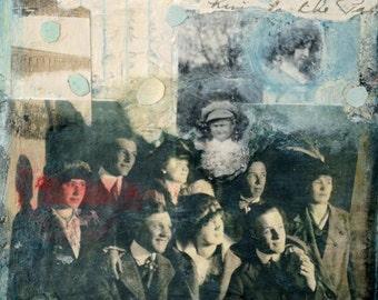 "Original Mixed Media Collage- ""Faded Memory""  Vintage Ephemera Collage Art by Angela Petsis"