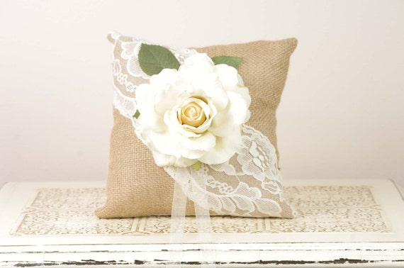 Burlap and Lace Ring Bearer Pillow with Large Ivory Rose