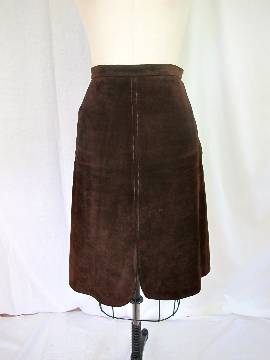 gucci rich brown suede leather skirt