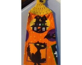 Hanging Hand Towel (Tea Towel) Cat-Themed Black Cat and Haunted House Orange Towel with Yellow Crocheted Top - 22288