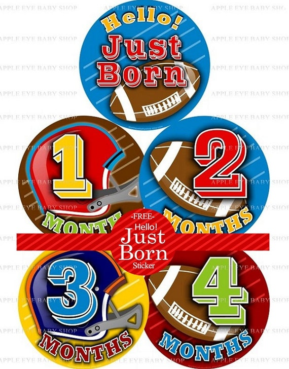 Baby Month Milestone FREE Month Baby Sticker Baby Month Milestone Stickers Baby Boy Bodysuit Stickers Brown Red Blue Baby Football