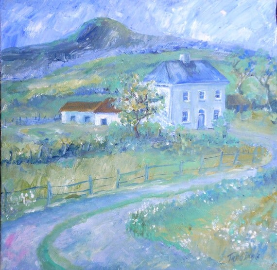Farmhouse by the Hill,  Ireland  -  -Original Acrylic on canvas