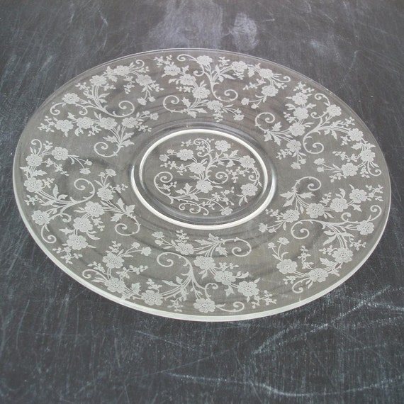 Vintage Etched Glass Cake Plate American Fostoria Crystal