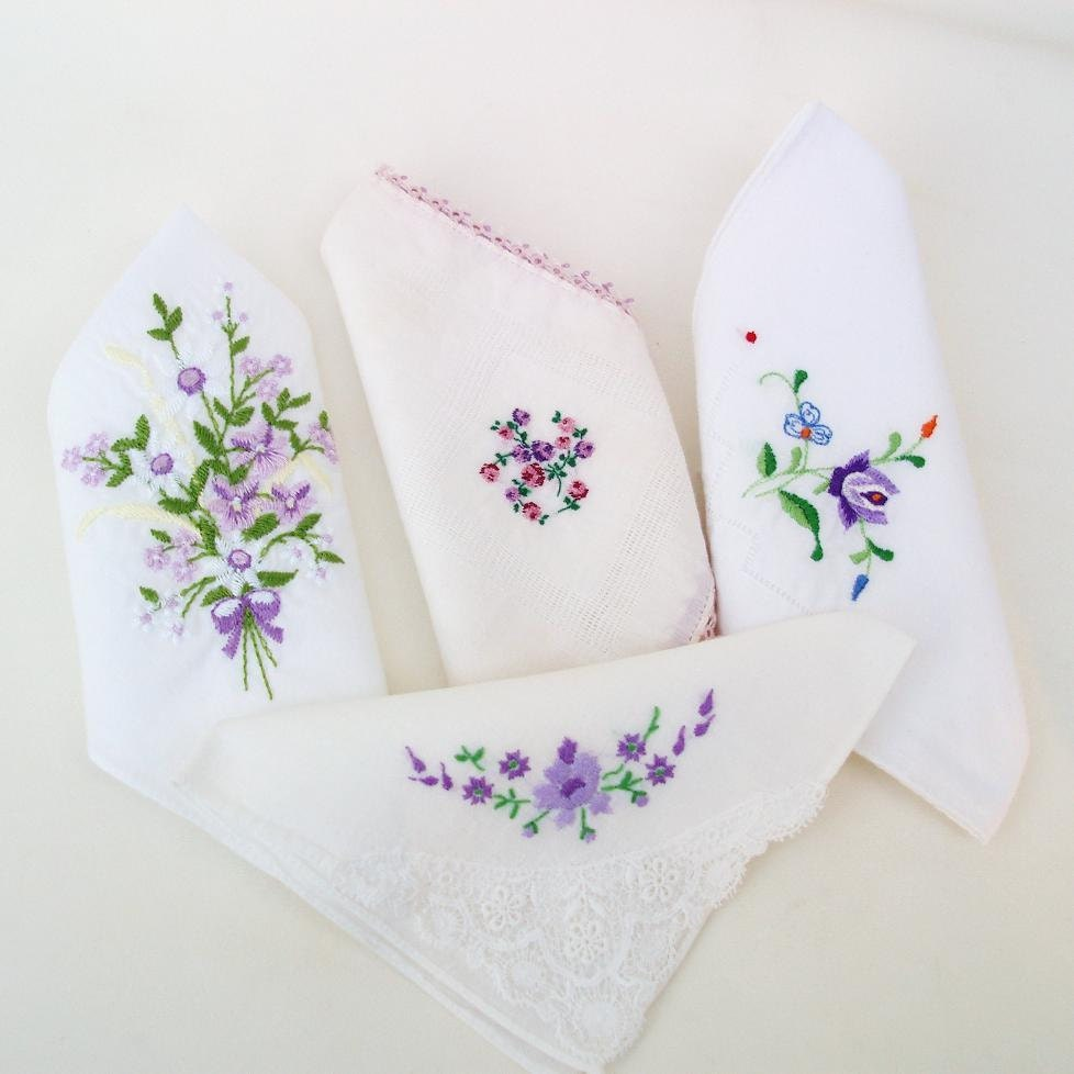 Purple Ladies Hankies Womens Handkerchiefs Bridemaid Gift