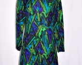 ON HOLD Vintage 60s Wool Dress Abstract Print Turquoise sz M/L