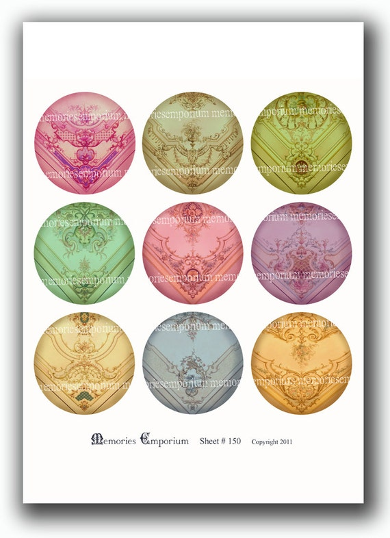 French Painted Circles Pastels Decoupage 2.5 inch Pocket Compact Mirror Pill Magnet diy Digital Collage Sheet Download 150
