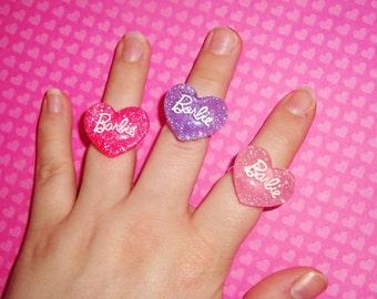 Barbie Glitter Heart Rings - choose a color