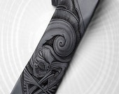"""Science fiction men's tie """"Alien from the abyss"""" for your friend. H. R. Giger inspired graphic and horror movie style necktie."""