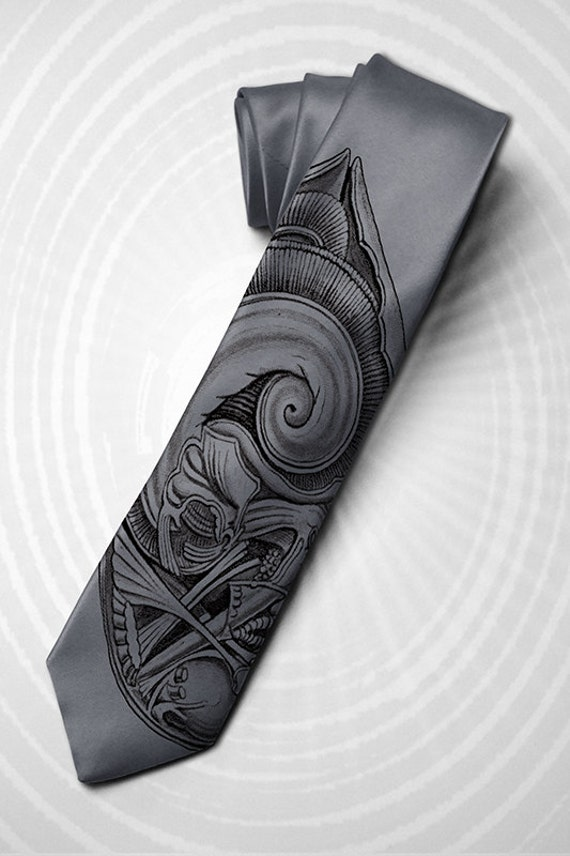 "Science fiction men's tie ""Alien from the abyss"" for your friend. H. R. Giger inspired graphic and horror movie style necktie."
