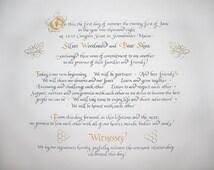 Custom Designed Wedding Certificate in calligraphy