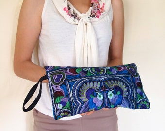 Selection Of Hmong Wristlet Clutch Hippie Style Ethnic Thai Boho Medium Size Embroidered Bags