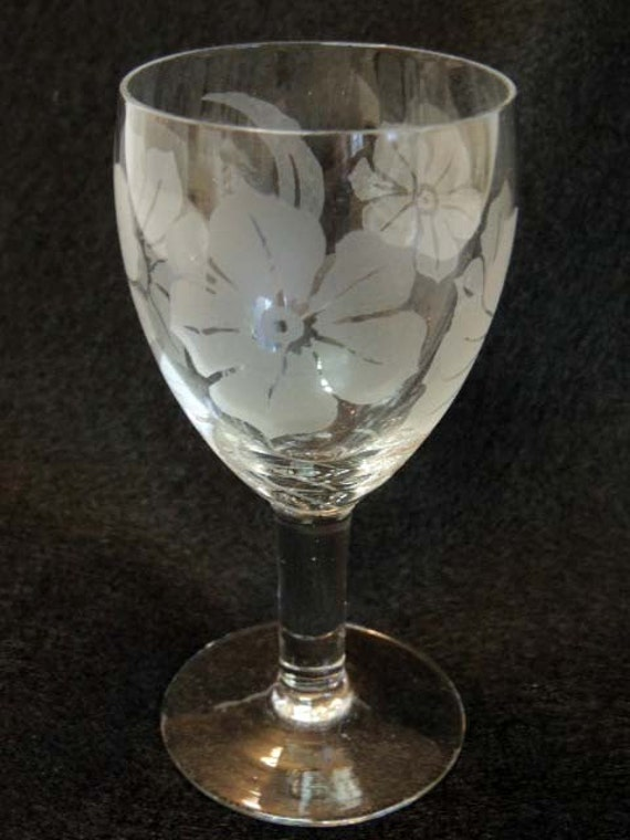 Vintage Etched Floral Crystal WINE GOBLET.. Six Ounce