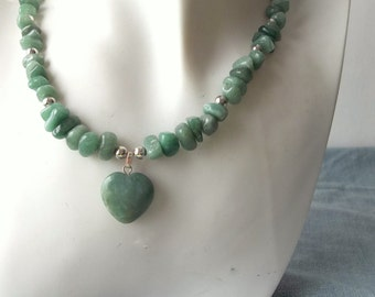 Green Aventurine Heart Necklace with Silver