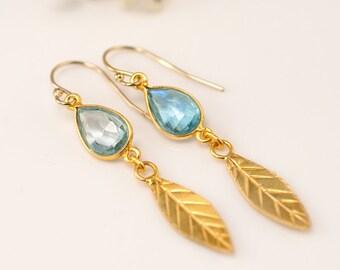 Blue Topaz earrings - Gold Leaf Earrings - Birthstone Earrings - Gemstone earrings - Gold drop earrings - Dangle Earrings