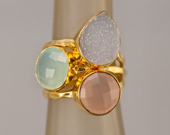 Stackable Stone Ring Set - Mother's Ring Set - Birthstone Ring Set - Stacking Rings - Gemstone Rings-  Druzy Rings - Gold Rings -