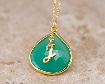 Mothers Day Gift - Personalized Necklace - Chrysoprase Necklace - Script Letter - Monogram Necklace - Gold Necklace - Personalized Jewelry