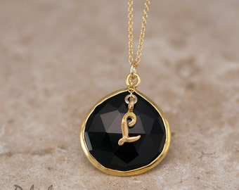 Personalized Necklace - Black Onyx Necklace - Script Letter - Monogram Necklace - Gold Necklace - Personalized Jewelry