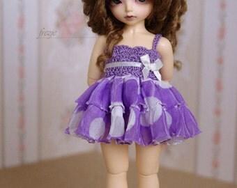 Polkadot violet dress for TINY bjd LittleFee