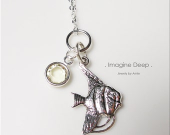 Necklace Pendant 18 inch Sterling Silver Angelfish, Light Yellow Swarovski Crystal Drop - High Quality Sparkle and Shine