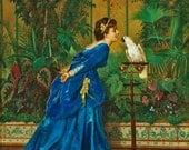 Lady with a Parrot - Cross stitch pattern pdf format