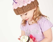 Crochet Cupcake Hat with Sprinkles Newborn-Adult