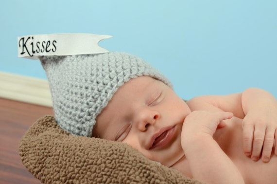 Crochet Baby Hershey Kiss Hat Pattern : Crochet Kiss Hat Chocolate Kiss Baby Hat Newborn Hershey
