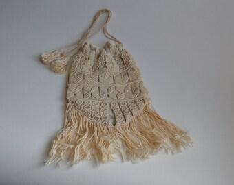 Vintage 1910s Crocheted Purse - Handmade Drawstring - Antique Bridal Fashions