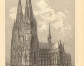 1896 Cologne Cathedral, Hohe Domkirche St Peter und Maria Original Antique Engraving