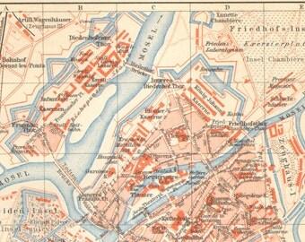 1897 Original Antique City Map of Metz