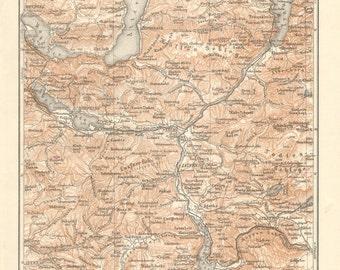 1897 Original Antique Map of Salzkammergut, Austria