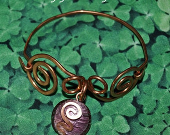 Copperwork Bracelet Fancy Celtic Scroll with Pink Dichroic Glass Accent