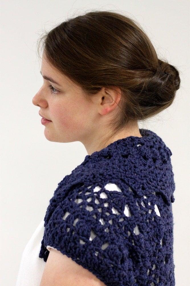 Knitting Patterns For Shrugs With Shawl Collar : Pattern PDF for Crochet Circle Shrug Shawl Collar Layering