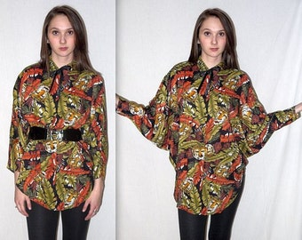 Eye of the tiger .. Vintage 80s tribal cocoon blouse / 1980s button up tunic / kimono slouchy oversized shirt / ethnic safari / bat wing