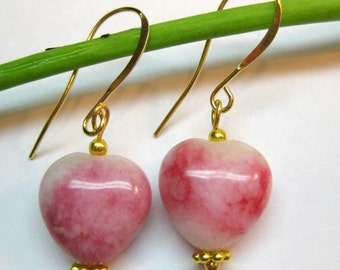 Hot Fuchsia Rose Pink Heart Shaped Dangle Drop Earrings Jasper Fashion Jewerly