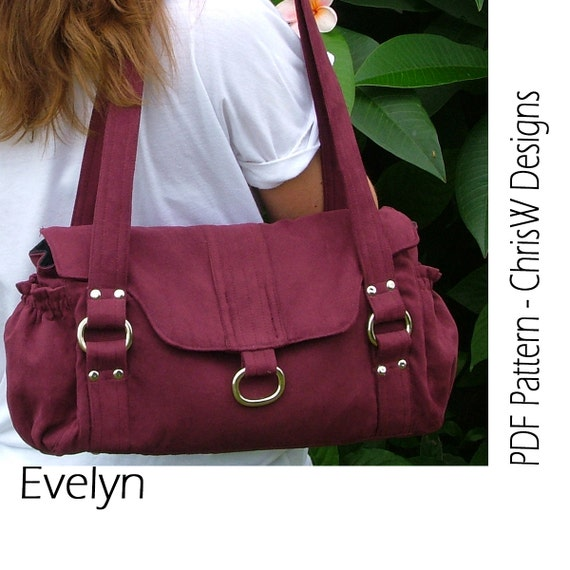"IHandbag sewing pattern - PDF- ""Evelyn"" Floral purse with lots of pockets, make it yourself"