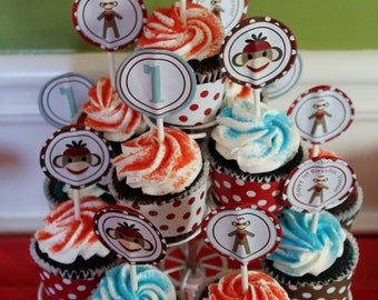 Sock Monkey Party Circles | Sock Monkey Cupcake Toppers | Sock Monkey Stickers | Vintage Sock Monkey Party Printables