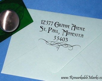 Custom Personalized Deco Font Wedding Return Address Stamp with Calligraphy Swash Address Label for Invitations