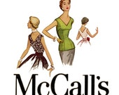 1950s Evening Blouse Pattern McCalls 9354 Bust 32 Fitted Sleeveless Deep V Front & Back Neckline Tops Womens Vintage Sewing Patterns